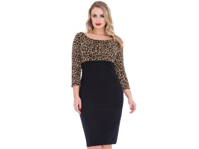 Společenské šaty pro plnoštíhlé Vickey s leopardím vzorem