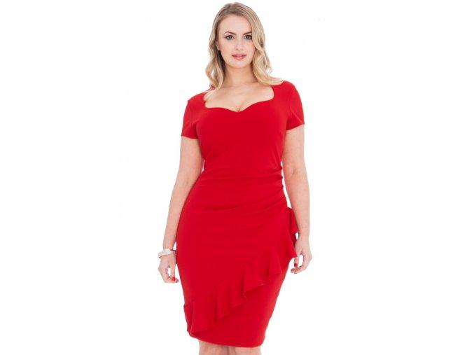 Společenské šaty pro plnoštíhlé Maudine červené