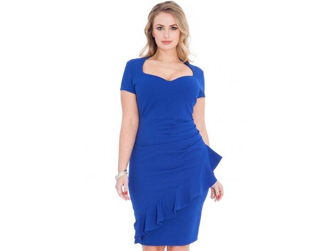 Společenské šaty pro plnoštíhlé Maudine modré