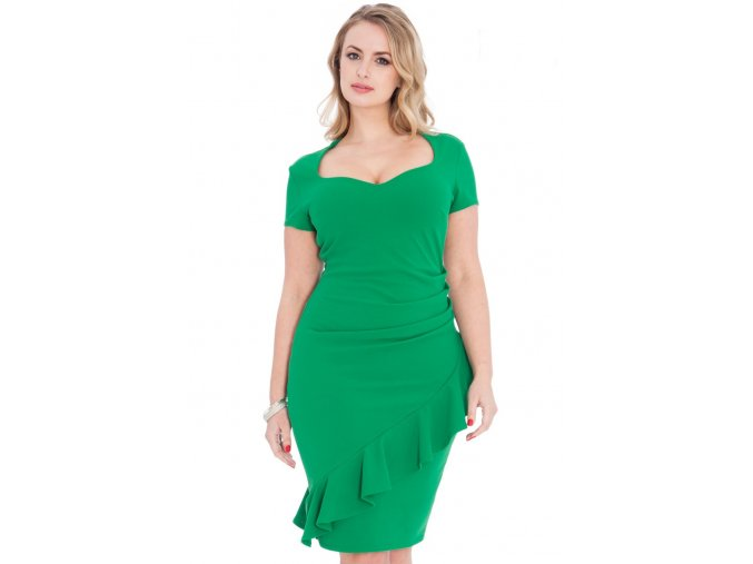 Společenské šaty pro plnoštíhlé Maudine zelené
