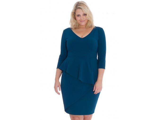 Společenské šaty pro plnoštíhlé Isaura modrozelené