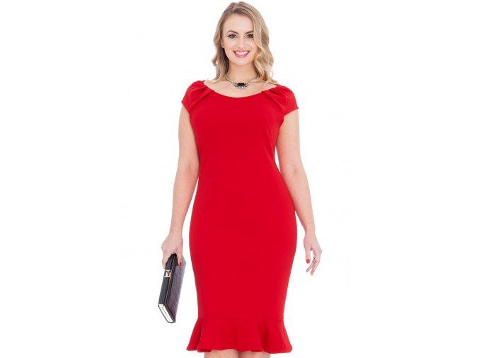 Společenské šaty pro plnoštíhlé Birdie červené