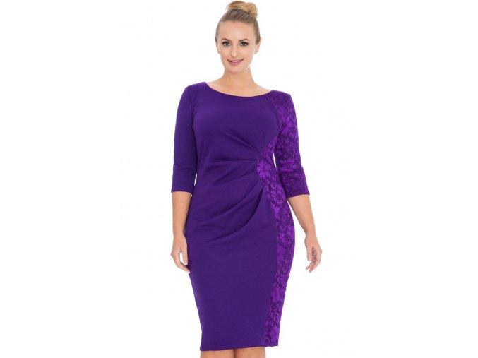 Společenské šaty pro plnoštíhlé Glennis fialové s krajkou