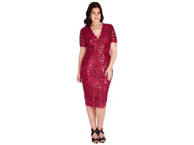 Společenské šaty pro plnoštíhlé Carlie vínově červené