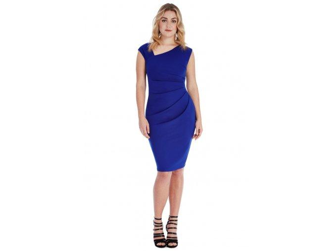 Společenské šaty pro plnoštíhlé Courtney modré
