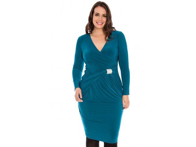 Společenské šaty pro plnoštíhlé Shania modrozelené