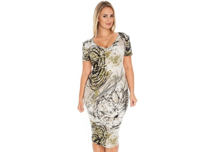Společenské šaty pro plnoštíhlé Julee světle béžové se vzorem