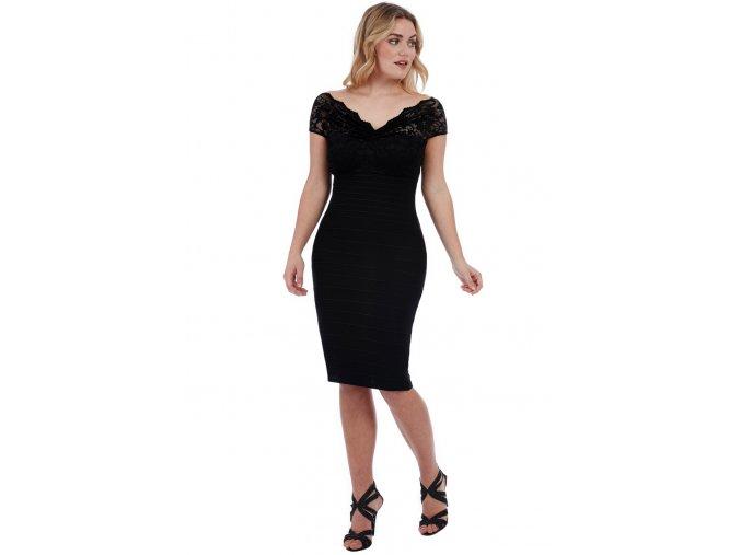 Společenské šaty pro plnoštíhlé Venus černé s krajkou