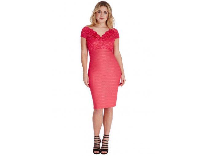 Společenské šaty pro plnoštíhlé Venus lososové s krajkou
