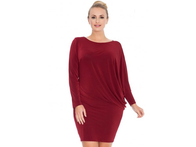 Společenské šaty pro plnoštíhlé Mirella vínově červené