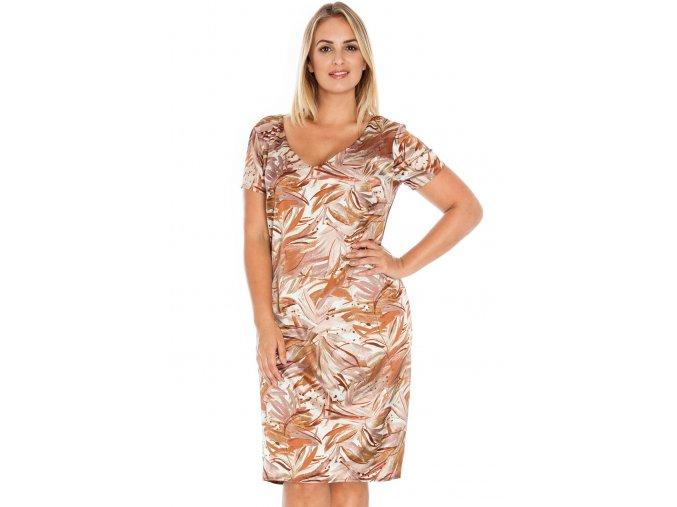 Společenské šaty pro plnoštíhlé Addie hnědé se vzorem