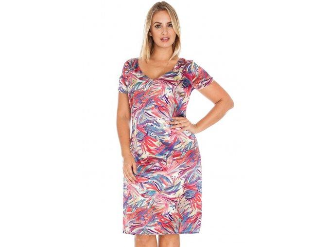 Společenské šaty pro plnoštíhlé Addie fialové se vzorem