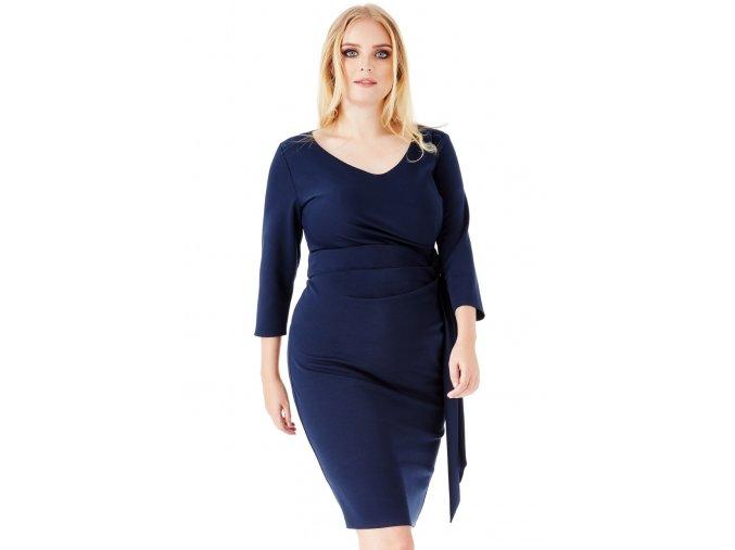 Společenské šaty pro plnoštíhlé Deena tmavě modré