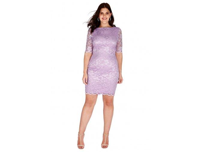 Společenské krajkové šaty pro plnoštíhlé Caprice světle fialové