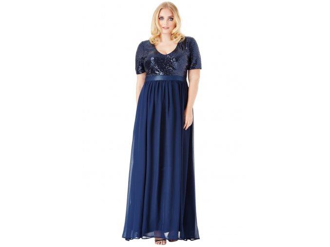 Luxusní plesové šaty pro plnoštíhlé Contessa tmavě modré dlouhé