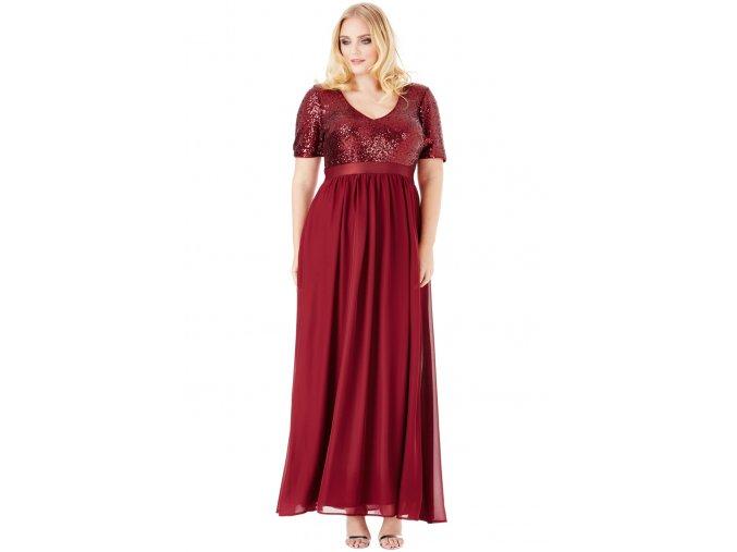 Luxusní plesové šaty pro plnoštíhlé Contessa vínově červené dlouhé