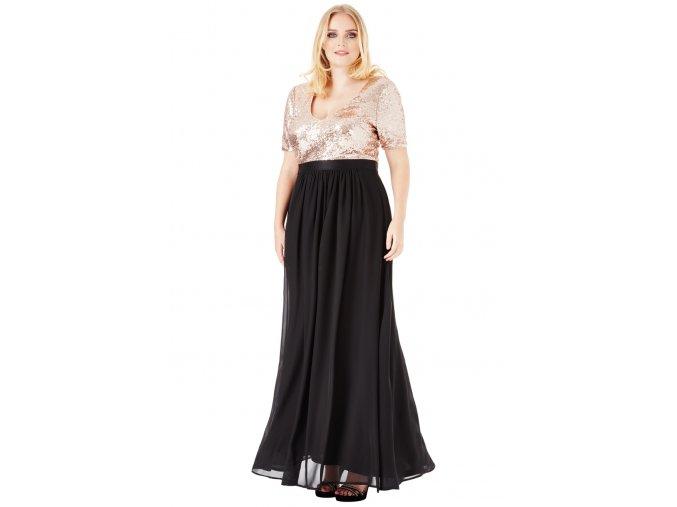 Luxusní plesové šaty pro plnoštíhlé Contessa zlato-černé dlouhé
