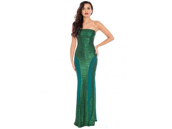 Luxusní plesové šaty Cameron smaragdově zelené