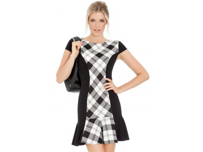 Šaty Ammie bílo-černé