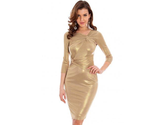 Koktejlové šaty Cheyenne zlaté
