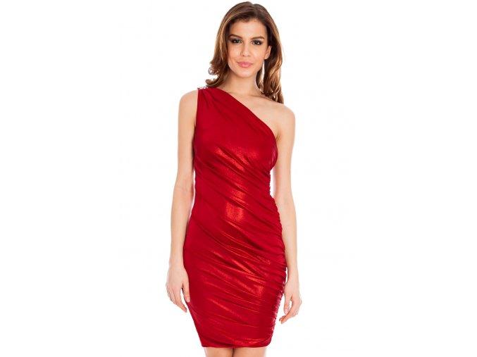 Koktejlové šaty Taisha vínově červené