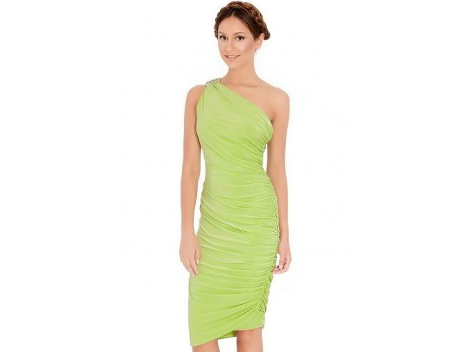 Koktejlové šaty Giselle limetkově zelené