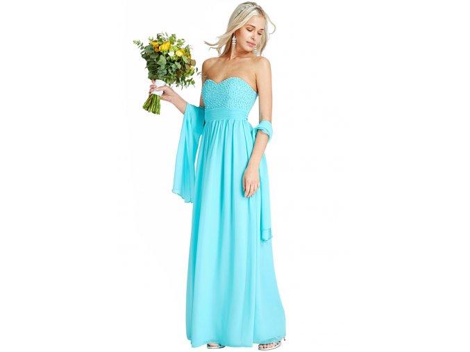 Luxusní plesové šaty Merrie azurové