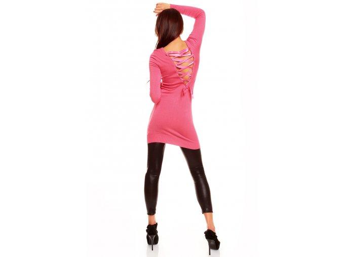 Úpletová tunika Rena růžová zezadu