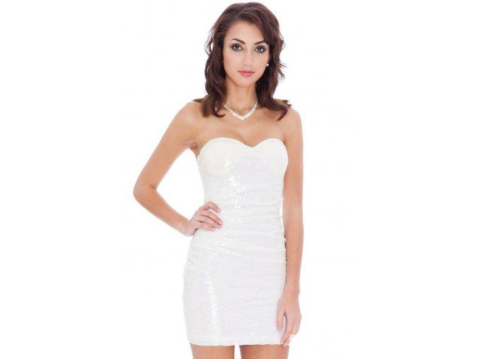 Společenské flitrové šaty Lizeth bílé