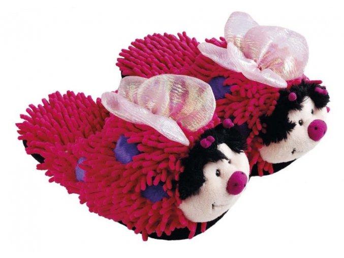 Plyšové bačkory motýlci růžoví