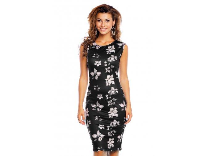 Společenské šaty Gia černé s květy