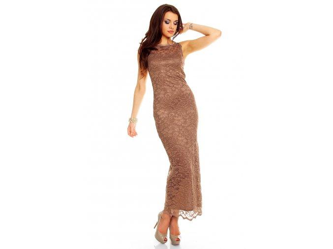 Plesové šaty Sibyl hnědé s krajkou
