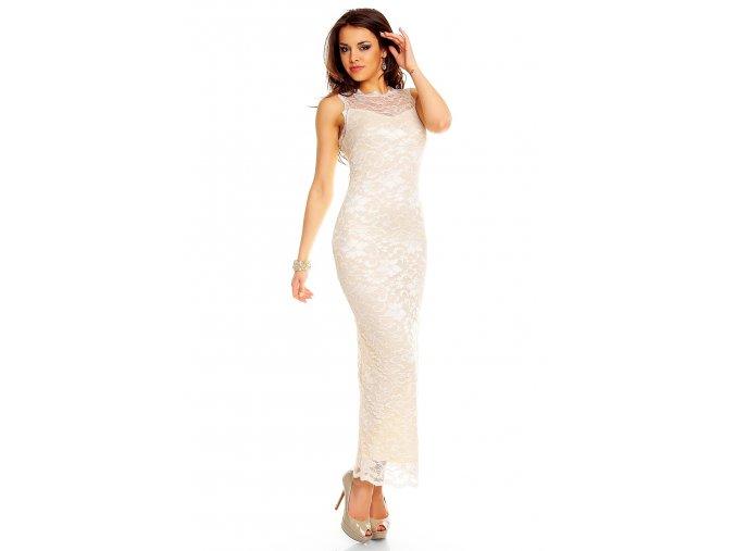 Plesové šaty Sibyl krémové s krajkou