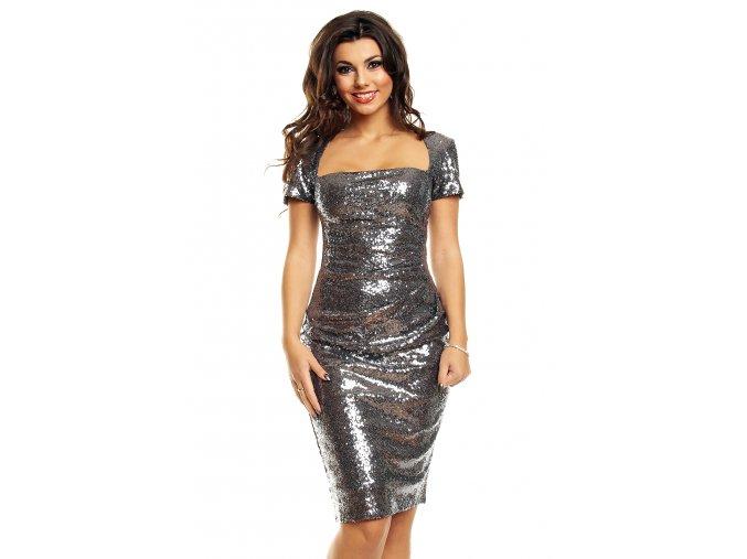Plesové šaty Dallas stříbrné