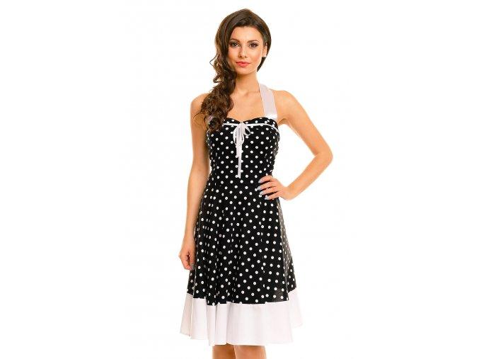 Rockabilly retro šaty Vivien III černé s bílými puntíky