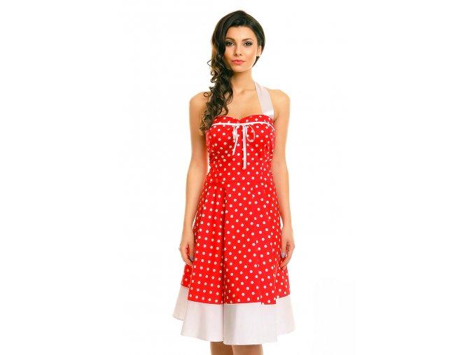 Rockabilly retro šaty Vivien III červené s bílými puntíky