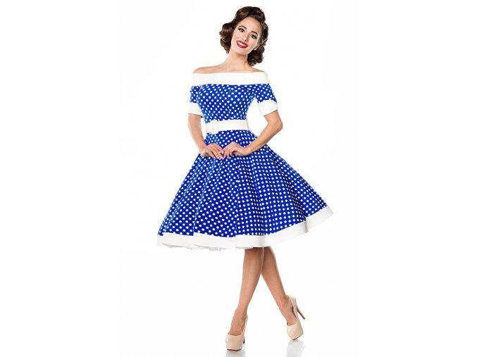 Rockabilly retro šaty Tinley modré s bílými puntíky