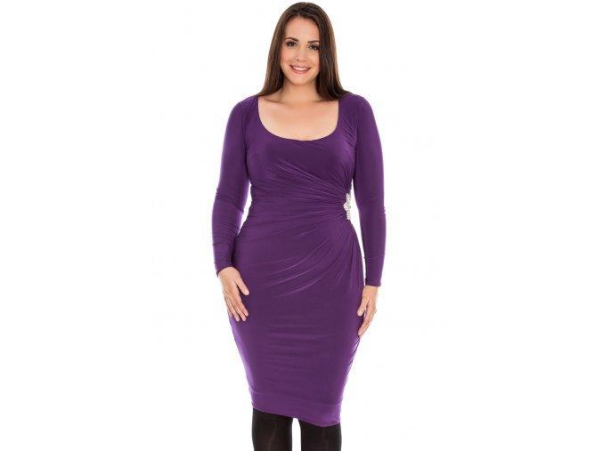 Společenské šaty pro plnoštíhlé Daisey fialové