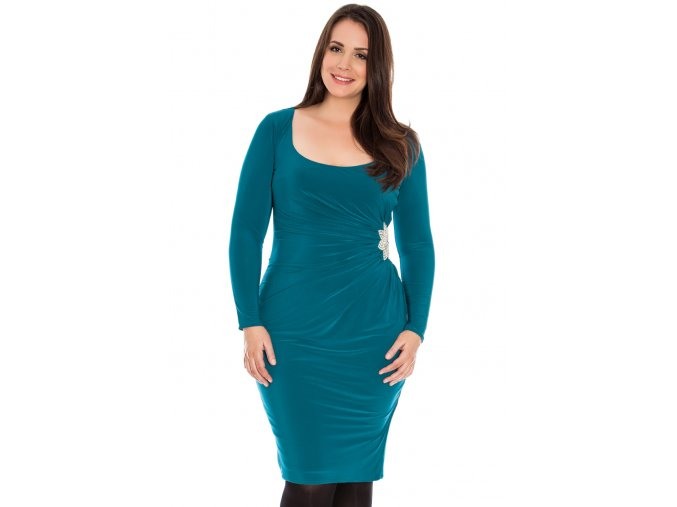 Společenské šaty pro plnoštíhlé Daisey modrozelené