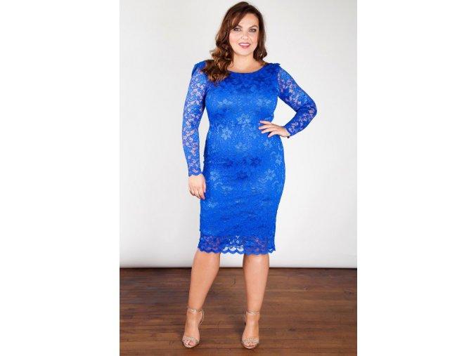 Společenské krajkové šaty pro plnoštíhlé Felicity modré