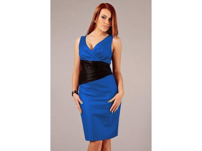 Společenské šaty pro plnoštíhlé Jacklyn černo-modré