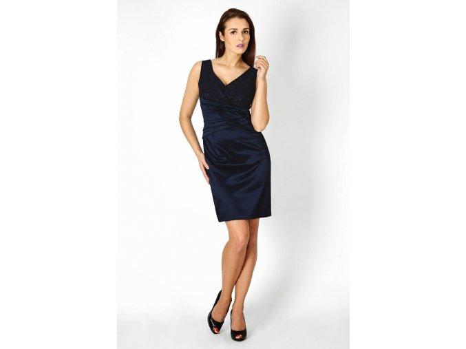 Společenské šaty pro plnoštíhlé Jacklyn s krajkou tmavě modré II