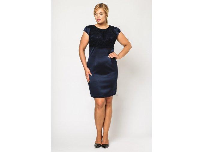 Společenské šaty pro plnoštíhlé Therese tmavě modré
