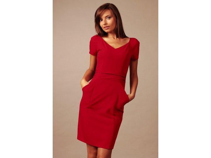 Společenské šaty pro plnoštíhlé Gina červené