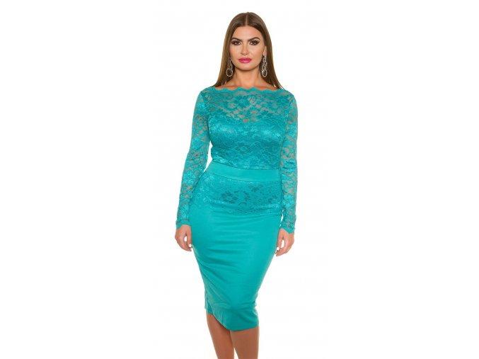 Společenské šaty pro plnoštíhlé Cristy modrozelené