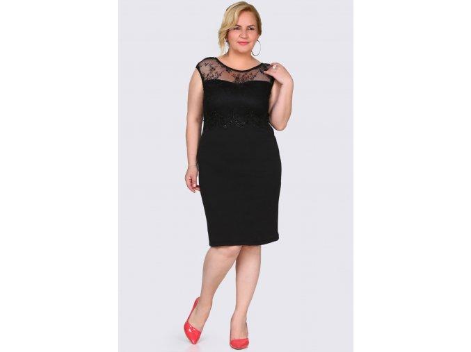 Společenské šaty pro plnoštíhlé Grazia černé