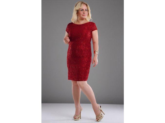 Společenské šaty pro plnoštíhlé Raisa vínově červené