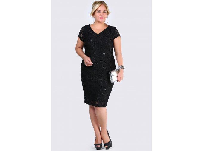 Společenské šaty pro plnoštíhlé Raguel černé