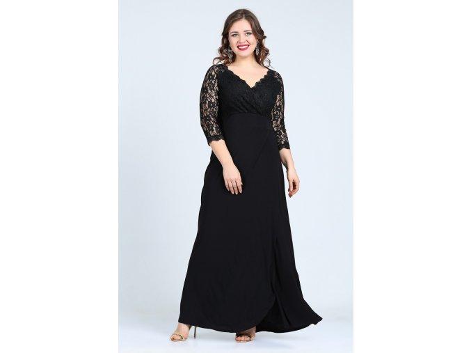 Společenské šaty pro plnoštíhlé Rafaella černé dlouhé