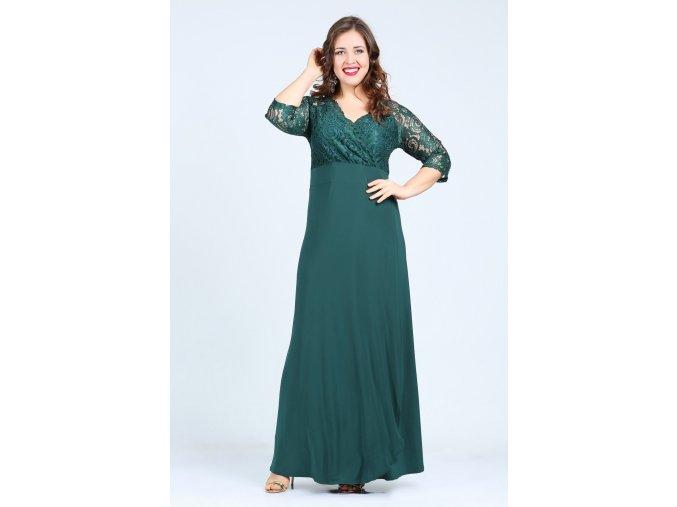 Společenské šaty pro plnoštíhlé Rafaella smaragdově zelené dlouhé